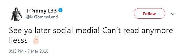 Tommy Lee chiude il suo profilo Twitter a causa di suo figlio Brandon
